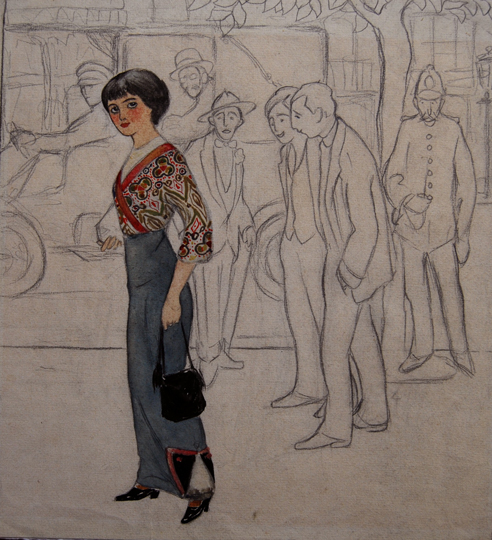 """Sin titulo (señora en la calle)"". Graphite and watercolor on paper 30,4 x 28,6 cm. Without signature Circa 1912"