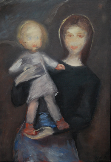 "NOT AVAILABLE. ""Maternidad"". Oil on canvas 55 x 38 cm. Signed"