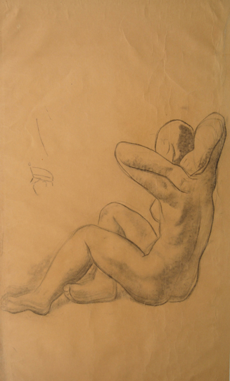 """Estudio para 'Bañistas'"". Charcoal on paper"