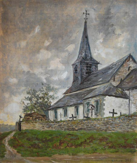 """Iglesia rural de Las Ardenas, Bélgica"". Oil on canvas 54 x 45,1 cm. Without signature. 1881 It has incribed 'estudio 365' Work certified by Juan San Nicolás, an expert in this artist"