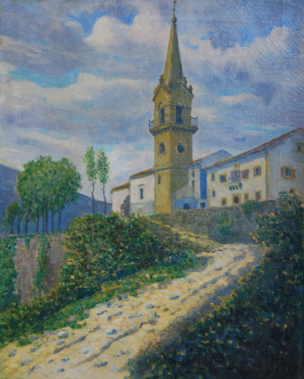 "NOT AVAILABLE. ""Ermita de Guadalupe. Hondarribia"". Oil on canvas 67 x 54 cm. Signed"