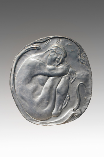 "NOT AVAILABLE. ""El sueño de Eva"". Polished brass 71 x 66  cm. Signed París, 1908"