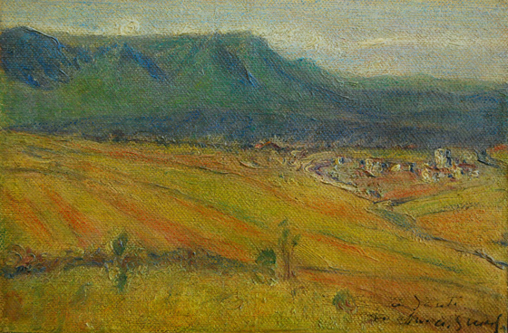 "NOT AVAILABLE. ""Vista de Orduña"". Oil on canvas 12 x 18 cm. Signed and dedicated Circa 1907/09 Nº cat. 161 in; Javier Gonzalez de Durana: Guiard"