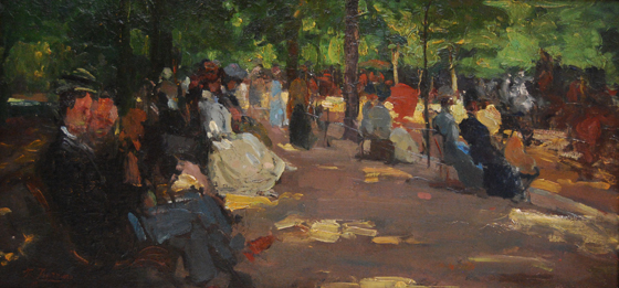 "NOT AVAILABLE. ""Jardines de Luxemburgo, París"". Oil on canvas 33 x 67 cm. Signed"