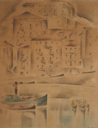 "NOT AVAILABLE. ""Puerto pesquero. Mutriku"". Watercolor and pencil / paper 57 x 43,5 cm.  Signed Circa 1930"