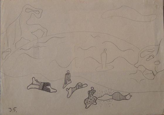 """Playa surreal"". Pencil on paper 15 x 21 cm. Dated 1935 Nº Catalogue 195"