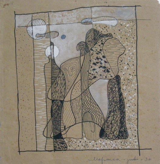 """Sin título"". Ink and gouache on brown paper 17 x 16,5 cm. Signed and dated: Villafranca, julio 1934"