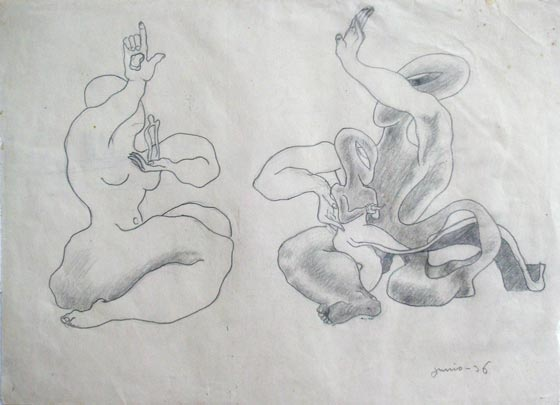 "NOT AVAILABLE. ""Sin título"". Pencil on paper 20 x 30 cm. Dated in 1936"