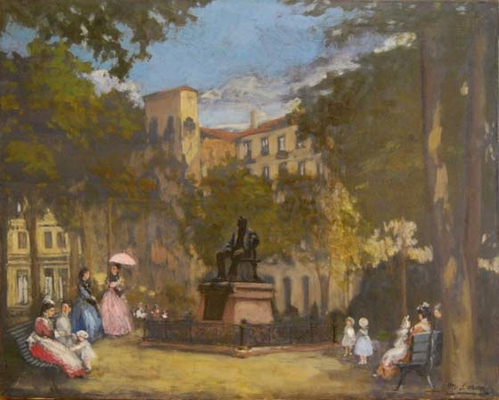 """Vistas de los jardines de Albia. Bilbao."". Oil on canvas 58,5 x 73,5 cm. Signed"