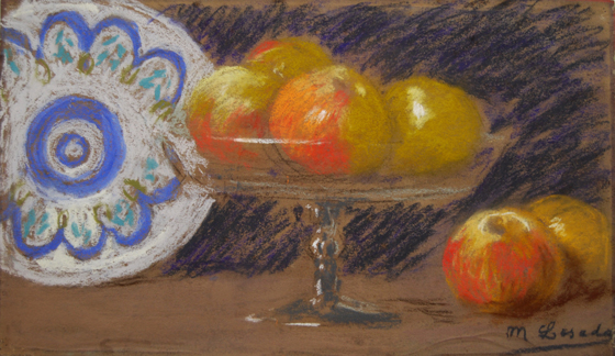 "NOT AVAILABLE. ""Naturaleza muerta con frutero"". Pastel on paper 26,5 x 45 cm. Signed"