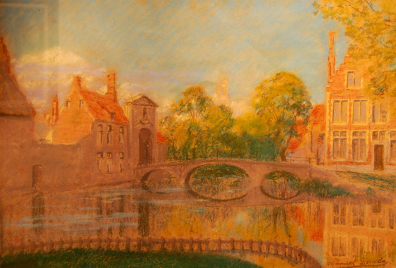 "NOT AVAILABLE. ""Vista de Brujas"". Pastel / paper 52 x 72 cm. Signed Circa 1906"