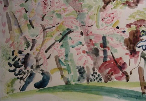 """Acacias"". Watercolor on paper 29 x 42 cm. Signed"