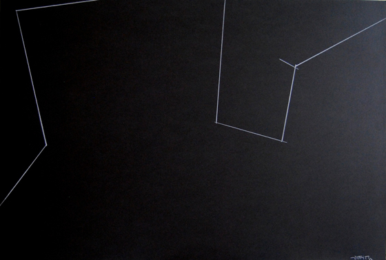 """Vacío y resistencia lineal"". Grass white pencil on black cardboard 68 x 100 cm. Signed Circa 1995"