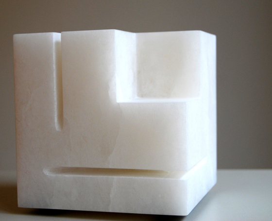 "NOT AVAILABLE. ""Conclusión Experimental [A] para Mondrian"". Replica of a 1973 sculpture, (rejected as JLP, by Oteiza inadequate due to the width of the grooves) Made between 1992-96 Height for hard cuts in alabaster 14,2 x 14,7 x 14,7 cm."