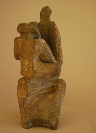 "NOT AVAILABLE. ""Maternidad"". cement 55.5 x 27 x 18 cm. Signed and dated XI-50 (I)"