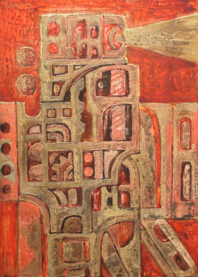 """Sin título"". Mixed thecnique / cardboard 70 x 50 cm. Signed and dated 1969"