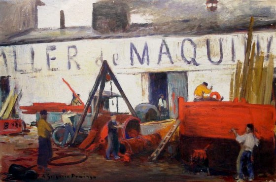 """NOT AVAILABLE. """"Taller de máquinas"""". Oil on board 57 x 85 cm. Signed and dated in 1926"""