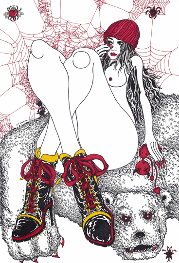 """The Pussy Wears Boots"". Digital printing ink on paper 78,5 x 54,5 cm. Signed and dated J.Y. 2008.01.04 Edition 1/10"