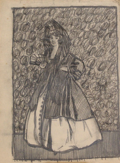 """Mujer con mantilla y abanico"". Pencil on paper 34,5 x 26 cm. Without signature"