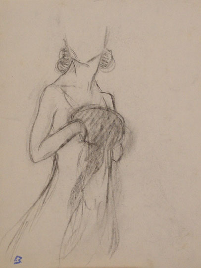 """Mujer con manguito"". Pencil on paper 30 x 23 cm. Signed"
